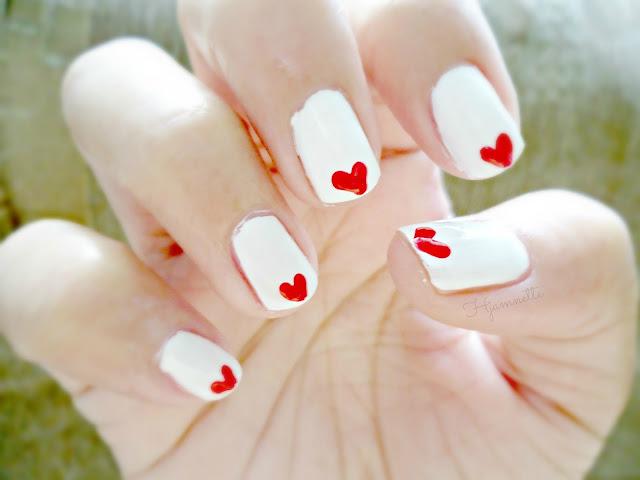 nail art, notd, valentine nail art, cute nail art, cute, heart, nail polish, nail