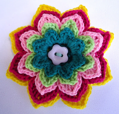 CROCHETED FLOWER PATTERN PIN | CROCHET PATTERNS