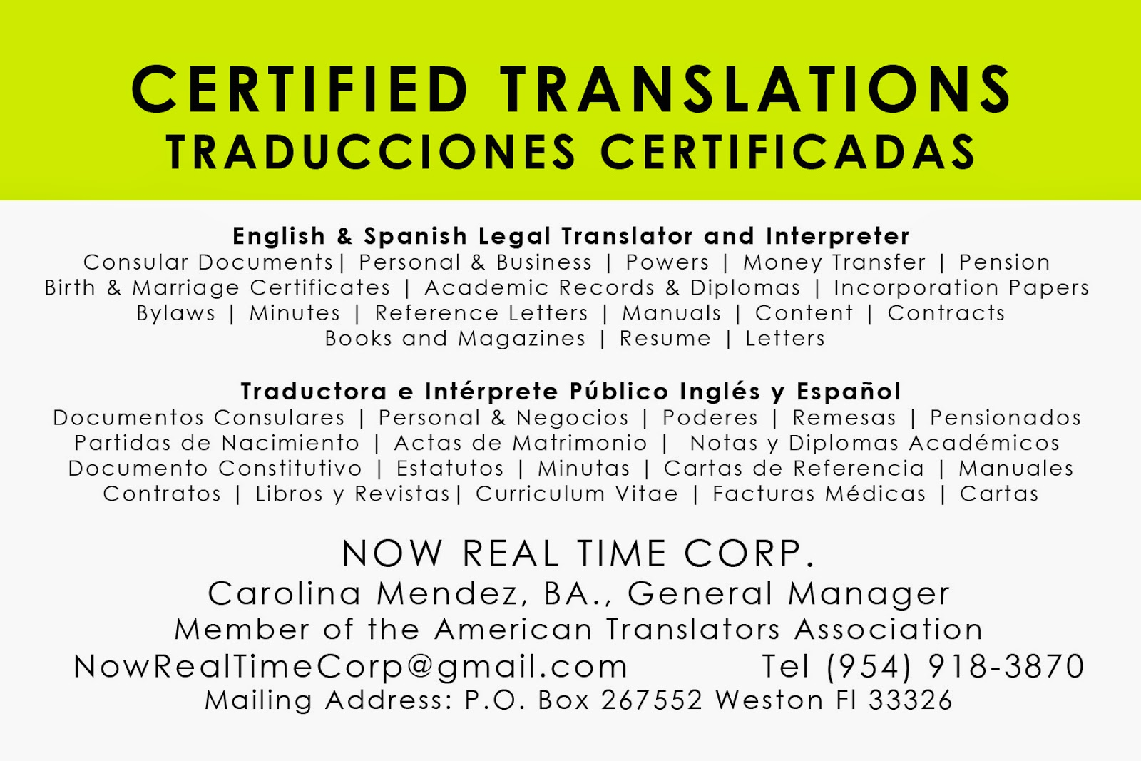 Hispanic Translations: English and Spanish: 2014