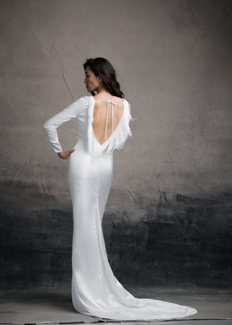 Fringe open back wedding dress by And For Love