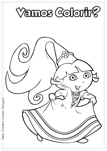 Desenho Dora a Aventureira vestida de fada para colorir