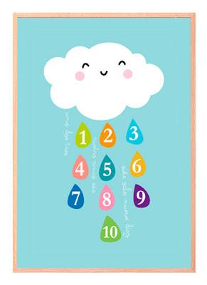 Lámina educacional Nube de números