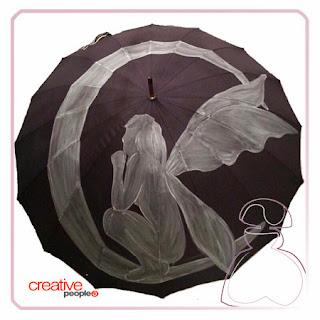 Evolución de paraguas pintado a mano por Sylvia Lopez Morant