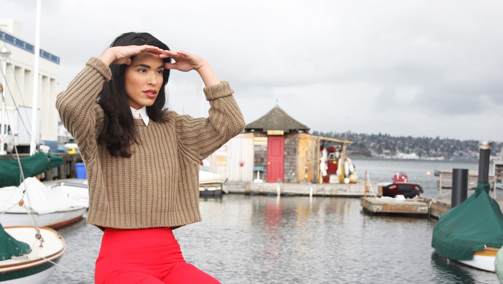 red, trousers, fall fashion, cropped sweater, seattle, model, ashley chanel