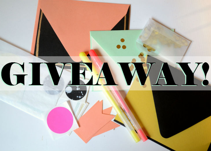 pin to win, neon, envelopes, coral, stickers, confetti, gold