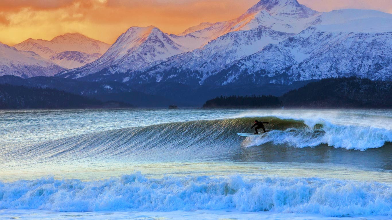 Don 'Iceman' McNamara surfing in Kachemak Bay, Alaska (© Scott Dickerson/Tandem Stills + Motion) 357