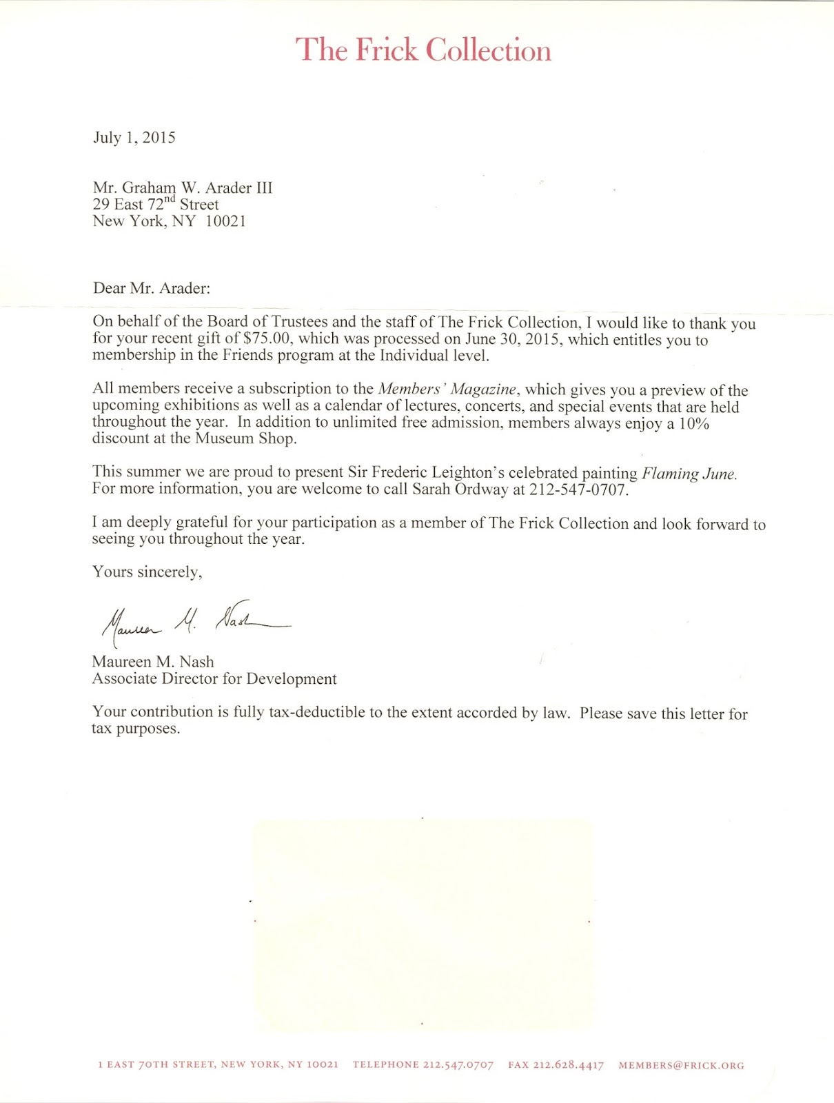 Graham arader thank you letter from the board of trustees at the thank you letter from the board of trustees at the frick collection for continued support expocarfo Image collections