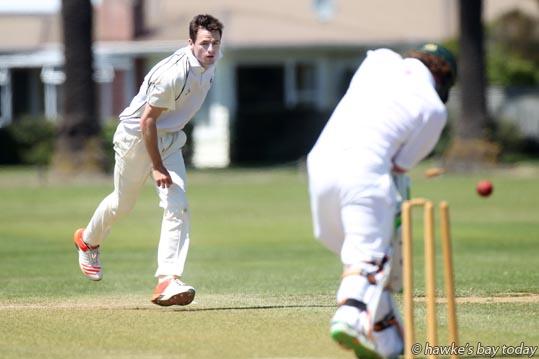L-R: Liam Dudding, Hawke's Bay, bowls Jackson Braddock-Pajo, Taranaki - cricket at Nelson Park, Napier. photograph
