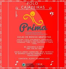 PRIMA - POLO CAJAZEIRAS. AULAS DE MÚSICA GRÁTIS