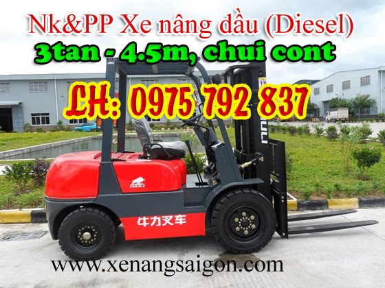 Thanh lý: Xe nâng dầu (Diesel) 3t - 4.5m Niuli, đ/c ISUZU - Nhật, chui cont, giá siêu rẻ  (Lh 0975