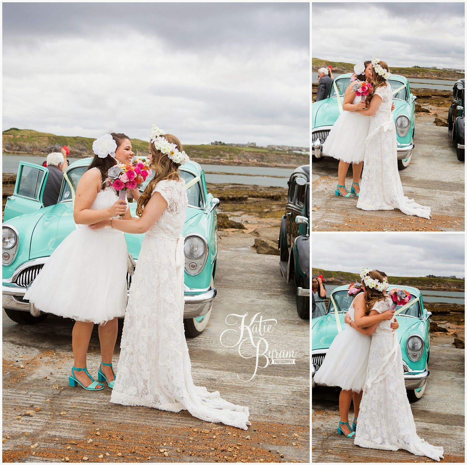 two bride wedding, valley retro, first look, lesbian wedding, share the honest love, love my dress blog, katie byram photography