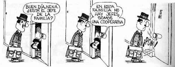 Mafalda: nesta família não há chefes, somos uma cooperativa