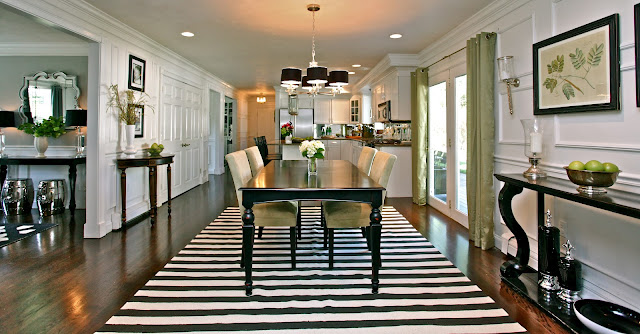 Traditional transitional white large open floor plan kitchen with dark wood floors