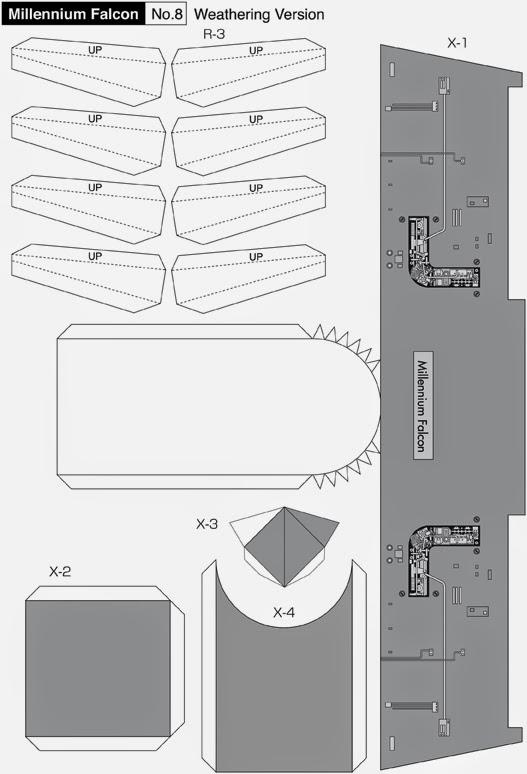 Maqueta descargable y recortable del Halcón Milenario9
