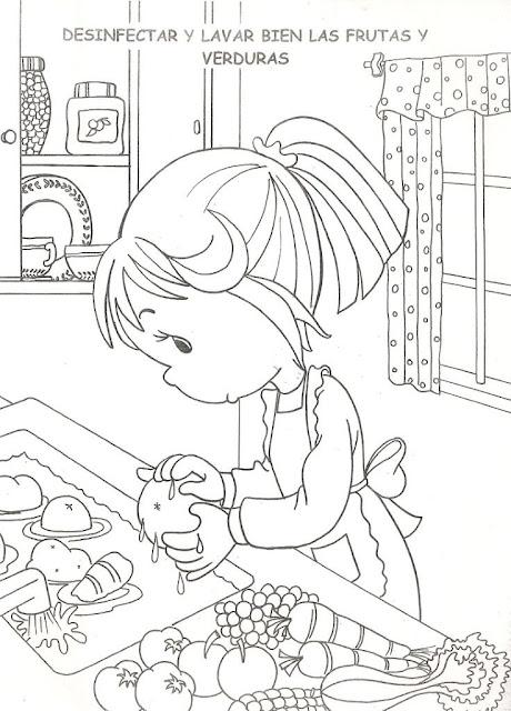 Preciosos Momentos: Desinfectando Verduras ~ 4 Dibujo