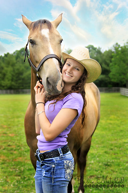 Senior girl with her horse in Henderonsillve, NC