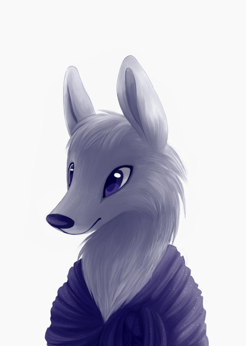 cute drawing of wolf lady