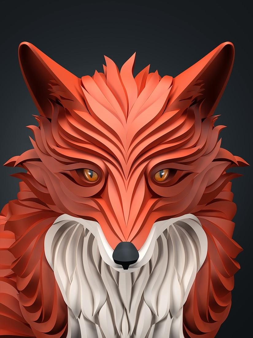02-Fox-Maxim-Shkret-Digital-Origami-Animal-Art-www-designstack-co