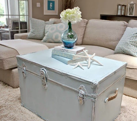 Travel Decor Ideas With Coastal Style Painted Suitcases And Trunks Completely