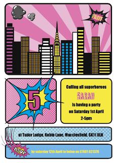 Superhero girl birthday party invitation