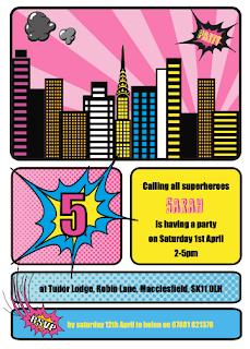 Superhero girl birthday party invitation