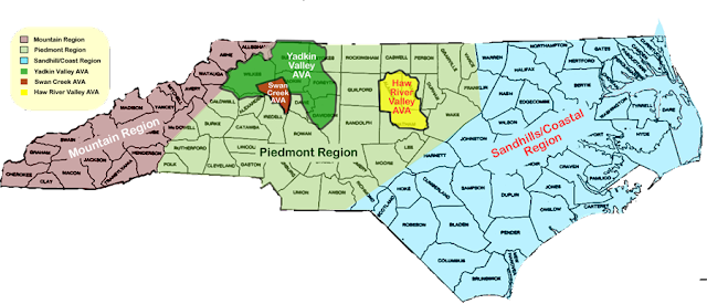 Map of grapes grown in N.C and the different regions. N.C grows every type of grape.