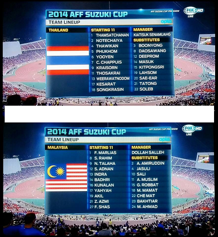 first 11 Malaysia Vs Thailand Piala AFF Suzuki 17-12-2014