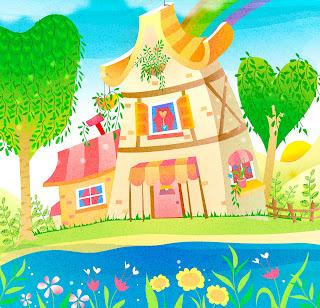 Paisaje de cuento en primavera con arcoiris