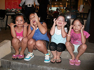Children with their funny faces
