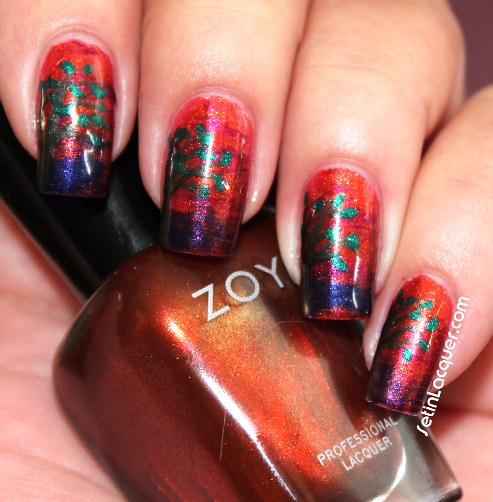 Sunset nail art using a fan brush - Set in Lacquer