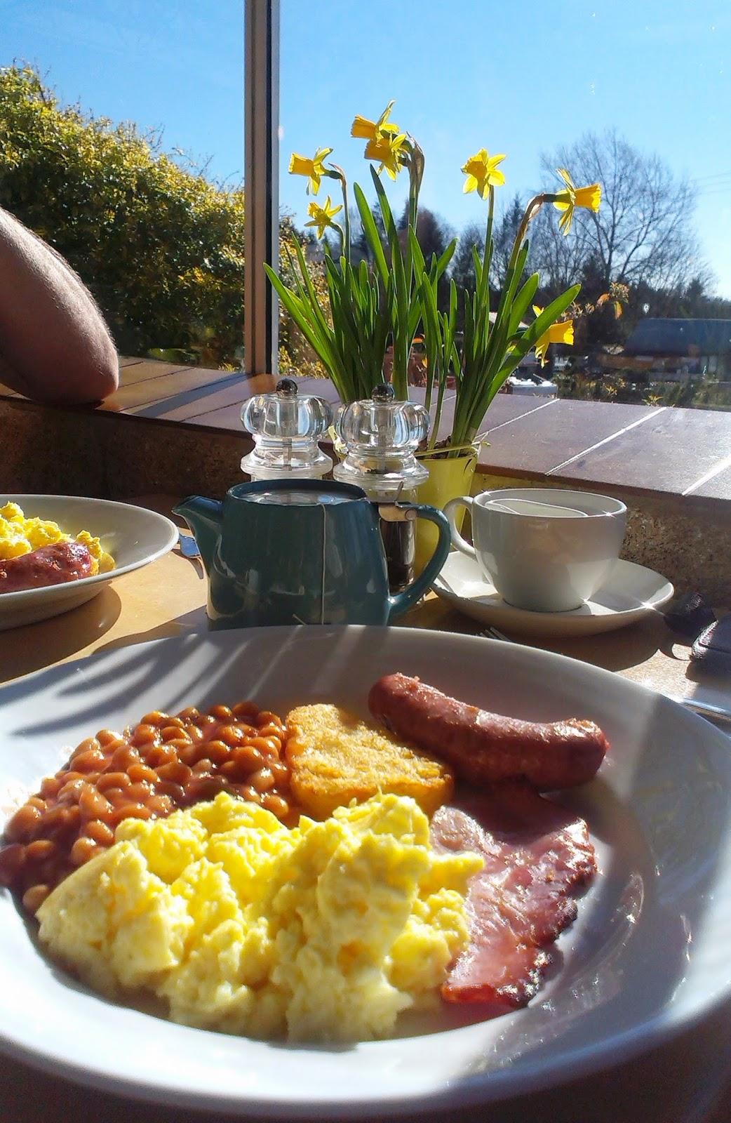 Breakfast in the sunshine at Whitehall Garden Centre
