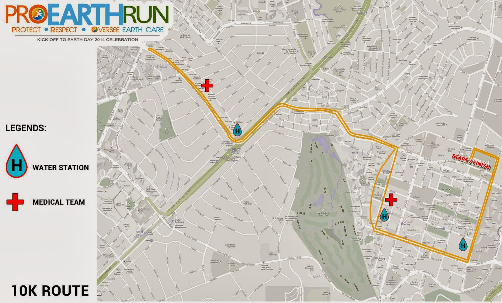 Map of 10k Route for Pro Earth Run 2014
