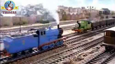 Royal Edward the blue tank engine empty slate truck to Mavis the diesel at the Sodor quarry yard