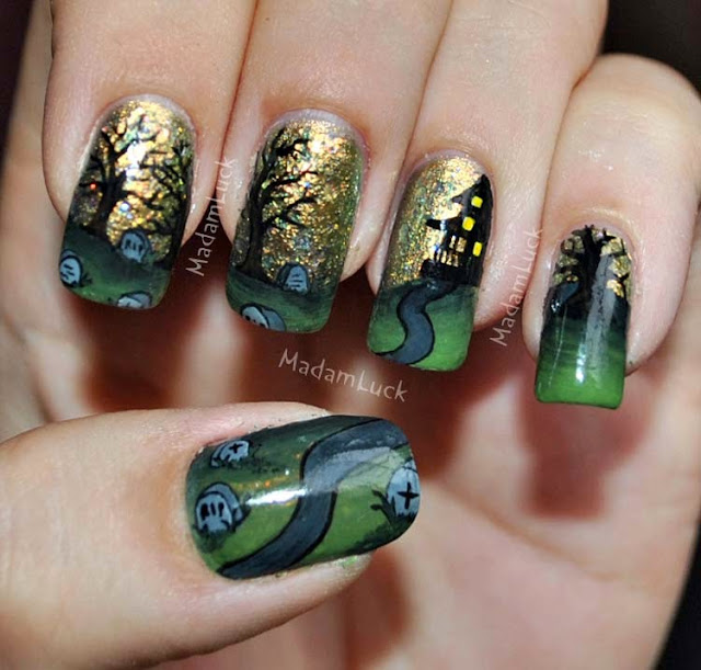 Prettyfulz Fall Nail Art Design 2011: Manucures Incroyables Pour L'Halloween - Miss Vay