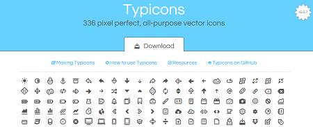 Daftar Situs Penyedia Font Icon Gratis - Typicons Font