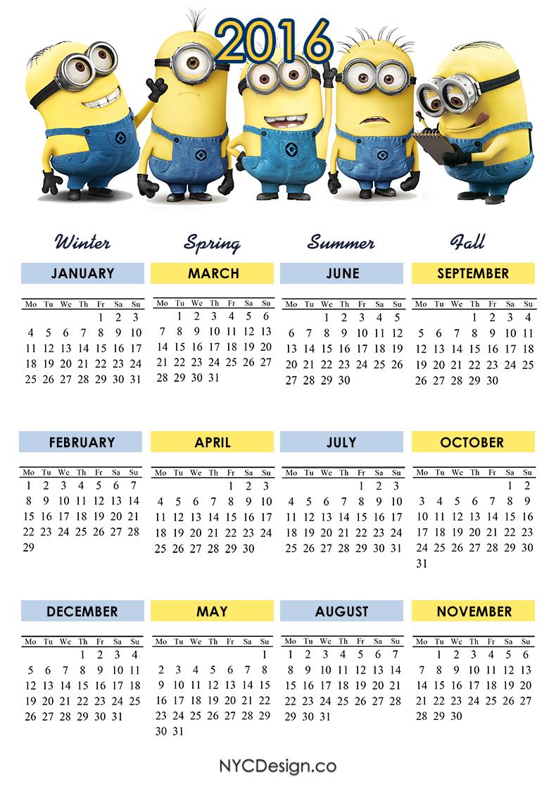 2016 calendar printable minions calendar 2016 4 seasons