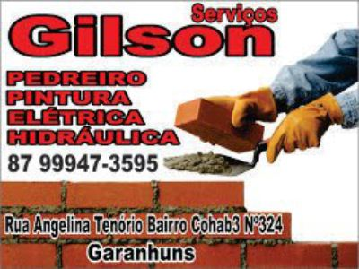 Gilson Serviços de Pedreiro Pinturas Elétrica e Hidráulica Tel 87 99947-3595