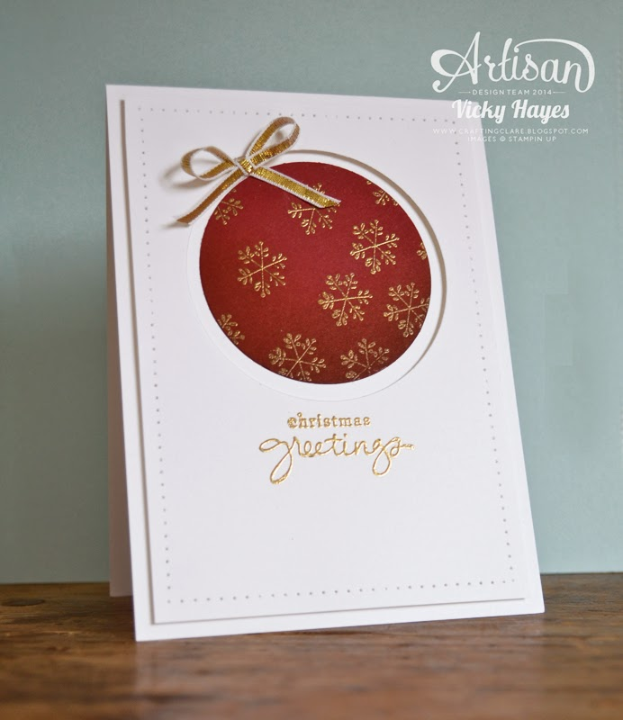 Stampin' Up's Cherry Cobbler and gold makes an elegant Christmas colour combination
