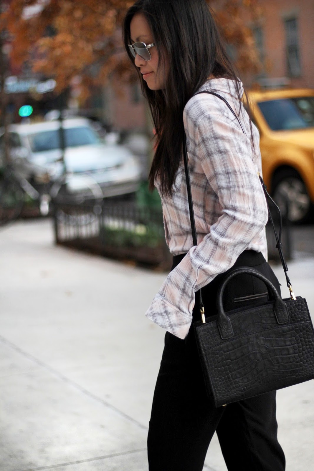 Rails plaid shirt Rag & Bone Alpine pants Paul Green loafers Emily Cho mini tote bag