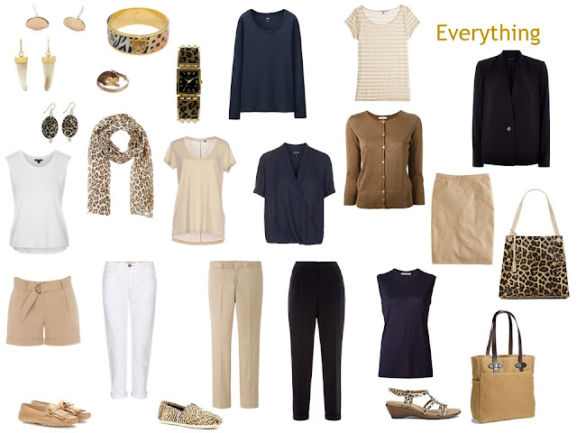 """Whatever's Clean 13"" travel capsule wardrobe in navy, beige and white, with leopard accessories"