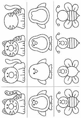 gato,abelha,pinguim,Atividades com: FIGURA FUNDO, COMPLETAR A FIGURA e COMPLETAR A SEQUÊNCIA.educação infantil,anos iniciais,coordenação motora fina