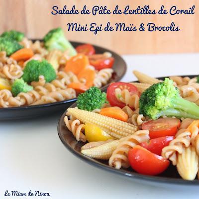 Illustration Salade de Pâtes de Lentilles de Corail, Minis Epis de Maïs & Brocolis