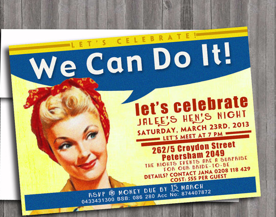 Hope and Glorious Vintage Planning a 1950s Hen Party – 1950s Party Invitations