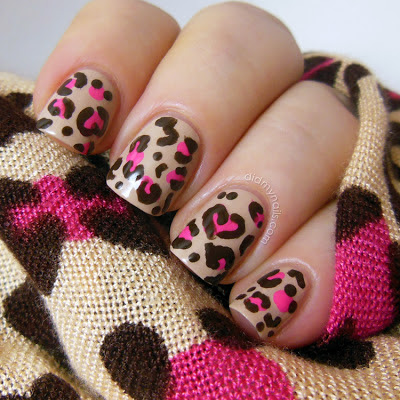 Disney leopard print nail art