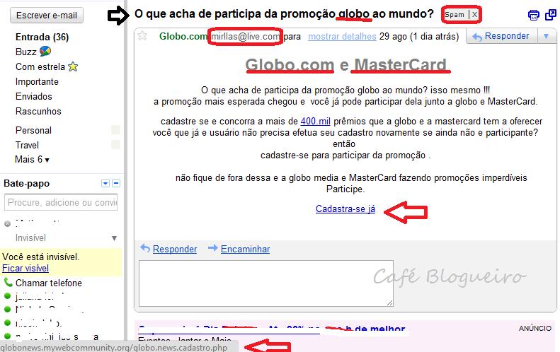 Alerta: Falso email Globo.com