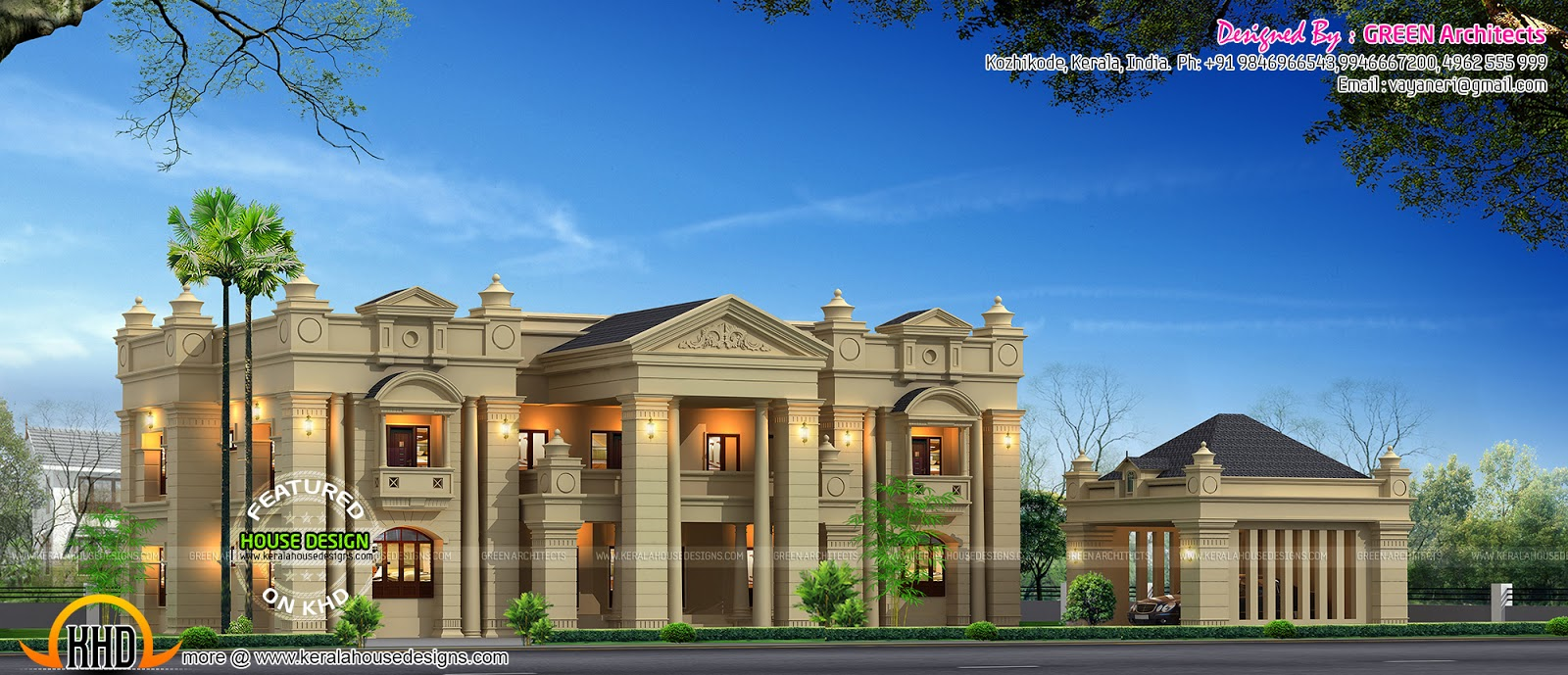 Colonial model luxurious house in kerala kerala home for Colonial style home design in kerala