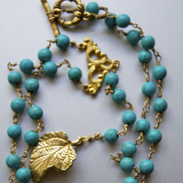 diy turquoise rosary inspired necklace