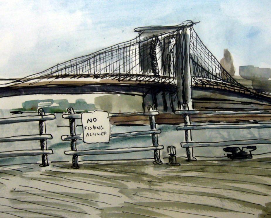 New York City Urban Sketchers Drama At South Street Seaport May 4th 2013