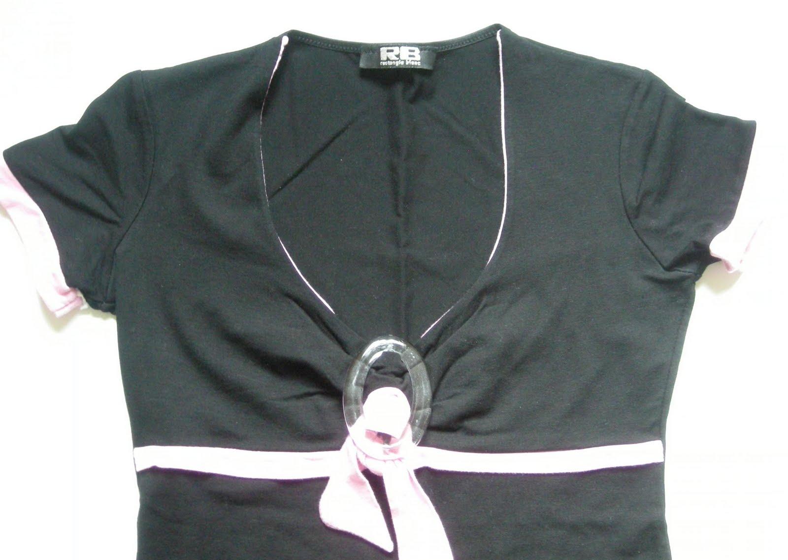 haut pas cher dans vide dressing de Flora : RECTANGLE BLANC - Haut noir et rose - T2 - NEUF