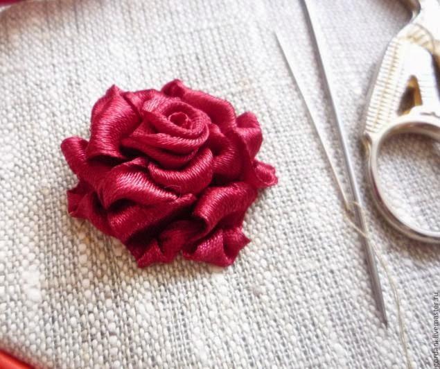 Вышивка лентами. Мастер - класс по вышивке розы